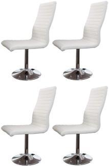 SalesFever Stuhl Esszimmerstuhl weiß Kunstleder 4er Set Kunstleder, Metall L = 45 x B = 65 x H = 106 weiß