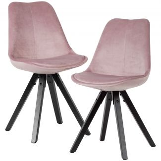 2er Set Esszimmerstuhl Samt Küchenstühle rosa