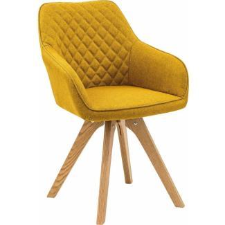 SalesFever Stuhl Armlehnstuhl 2er Set curry-gelb Textil Holz, Textil L = 59 x B = 61 x H = 88 gelb