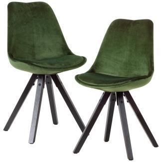 2er Set Esszimmerstuhl Samt und schwarze Holzbeine grün