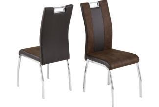 4er-Set Stuhl 'BARI 2', Lederlook und Softtex, dunkelbraun