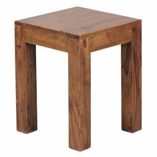 Beistelltisch Massiv-Holz 35 x 35 cm Wohnzimmer-Tisch Design braun Sheesham