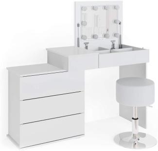 Vicco 'Lotos' Schminktisch, weiß, mit Spiegel, inkl. Hocker und LED-Lichterkette