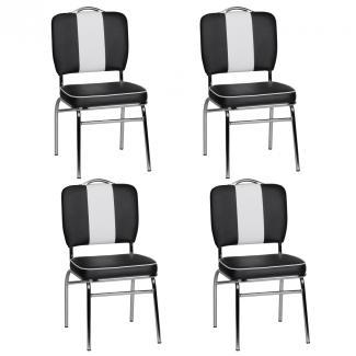 4er Set Esszimmerstühle KING American Diner 50er Jahre Retro schwarz/weiß