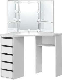 Juskys Eck-Schminktisch Nova – Kosmetiktisch 100 x 54 x 140 cm Weiß – Frisiertisch aus Holz mit Spiegel, LED-Beleuchtung, Schubladen & Ablagefächern