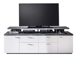 TV-Board MOOD Lowboard Unterschrank weiß und Stone grau