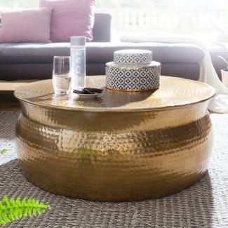 Couchtisch KAREM 75 x 31 x 75 cm Aluminium Beistelltisch orientalisch rund