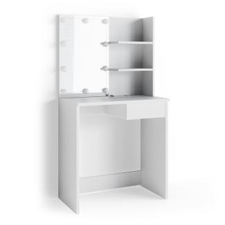 Vicco 'Dekos' Schminktisch, Weiß, inkl. LED-Lichterkette, mit Spiegel