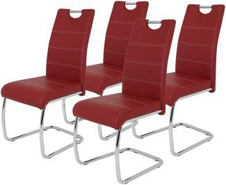 4er-Set 'Flora 'Schwingstuhl, rot, Kunstleder
