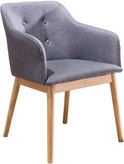 SalesFever Stuhl Esszimmerstuhl anthrazit Holz, Strukturstoff L = 55 x B = 48 x H = 80 anthrazit