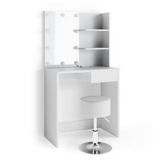 Vicco 'Dekos' Schminktisch, Weiß, inkl. Hocker und LED-Lichterkette, mit Spiegel