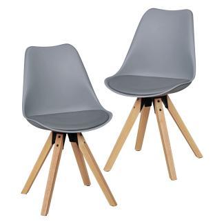 2er Set Esszimmerstühle Skandinavische Stühle mit Holzbeinen grau