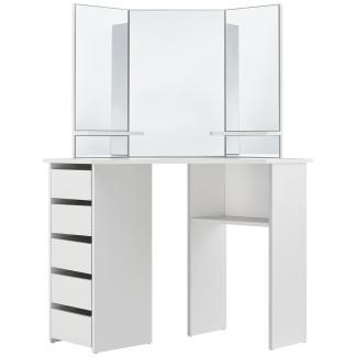 Juskys Eck-Schminktisch Nova – Kosmetiktisch 100 x 54 x 140 cm in Weiß – Frisiertisch aus MDF-Holz mit Spiegel, 5 Schubladen & 3 Ablagefächern