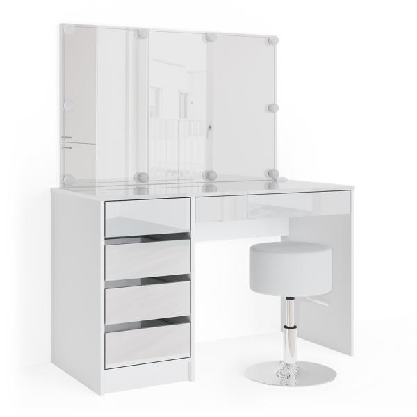 Vicco 'Sherry' Schminktisch, weiß, inkl. Hocker und LED-Beleuchtung, mit Spiegel und 5 Schubladen